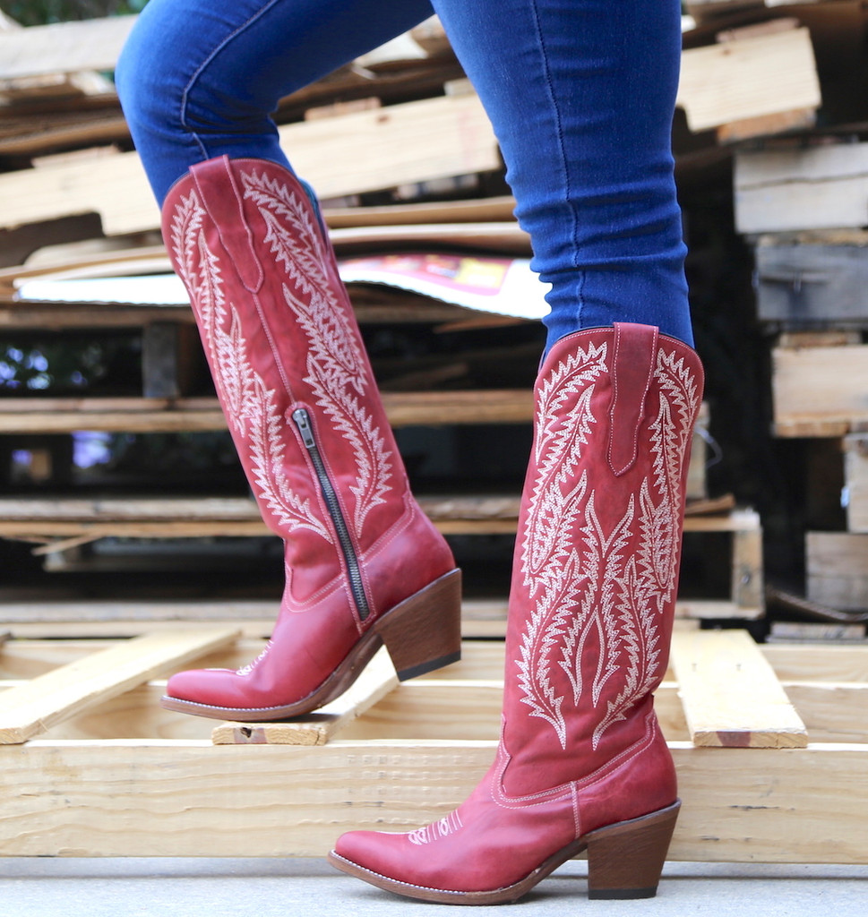 Corral Red Embroidery Tall Top Boots E1318 Picture