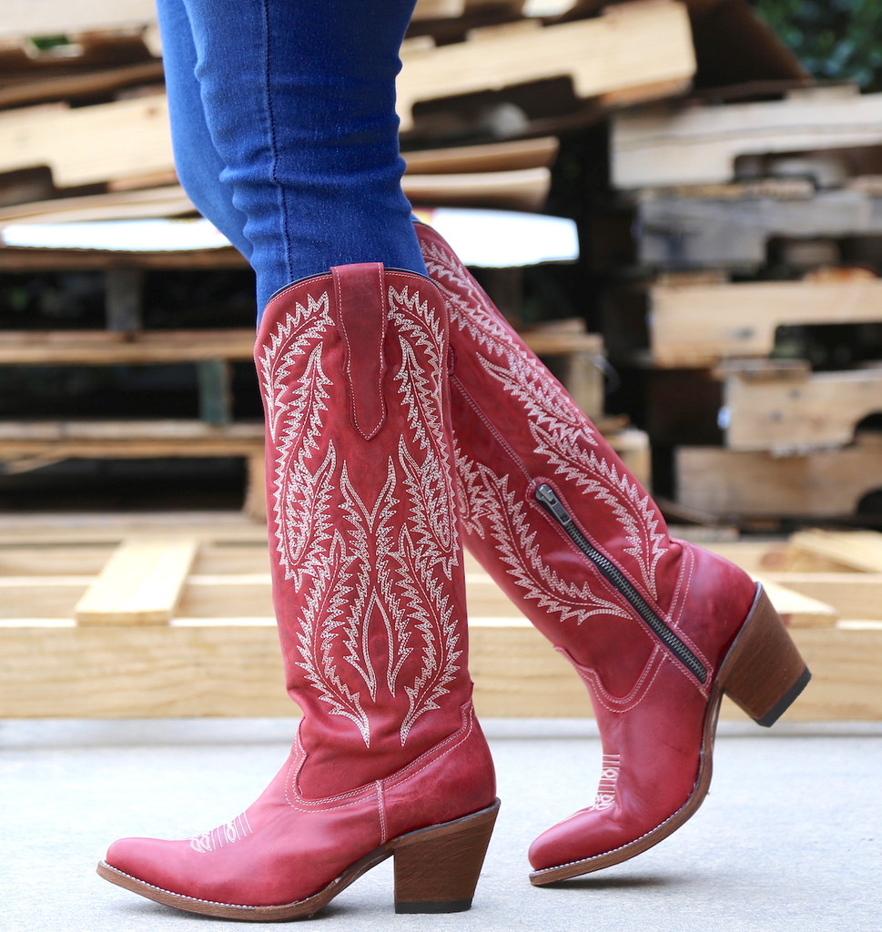 Corral Red Embroidery Tall Top Boots E1318 Walk