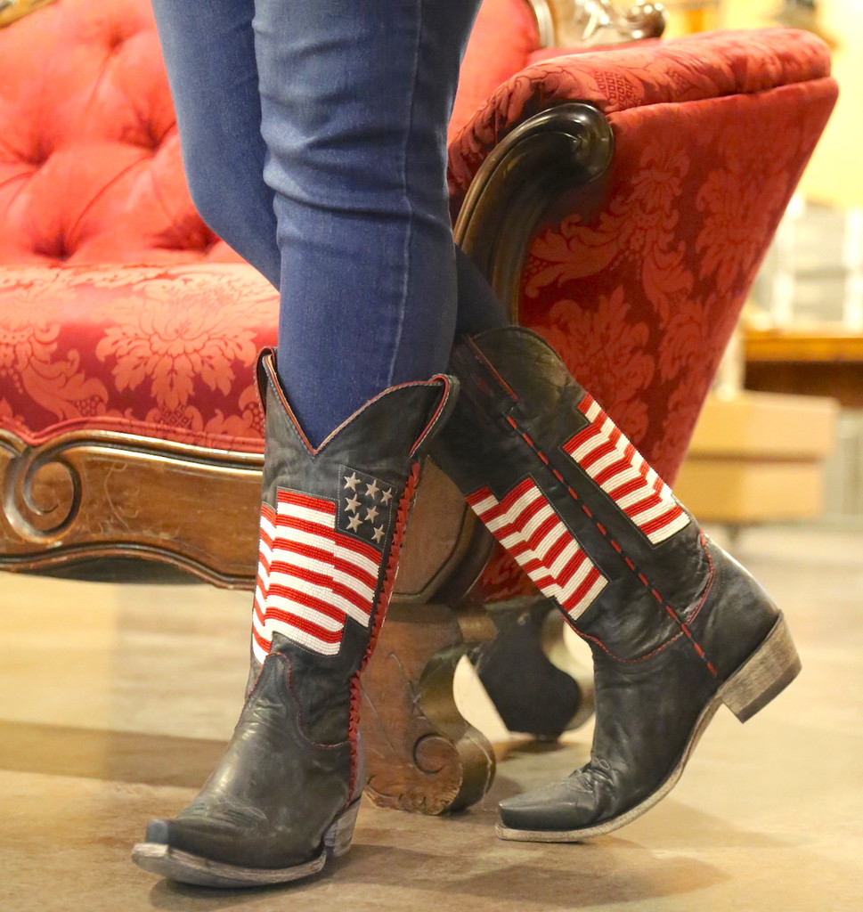 Old Gringo Eleanor Blue Beaded Flag Boots L2961-1 Image