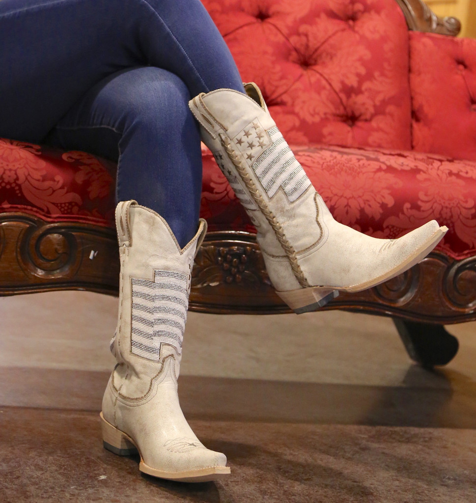 Old Gringo Eleanor Taupe Beaded Flag Boots L2961-2 Image