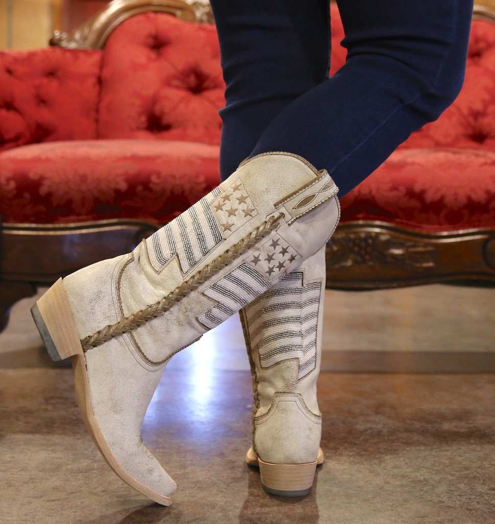 Old Gringo Eleanor Taupe Beaded Flag Boots L2961-2 Heel