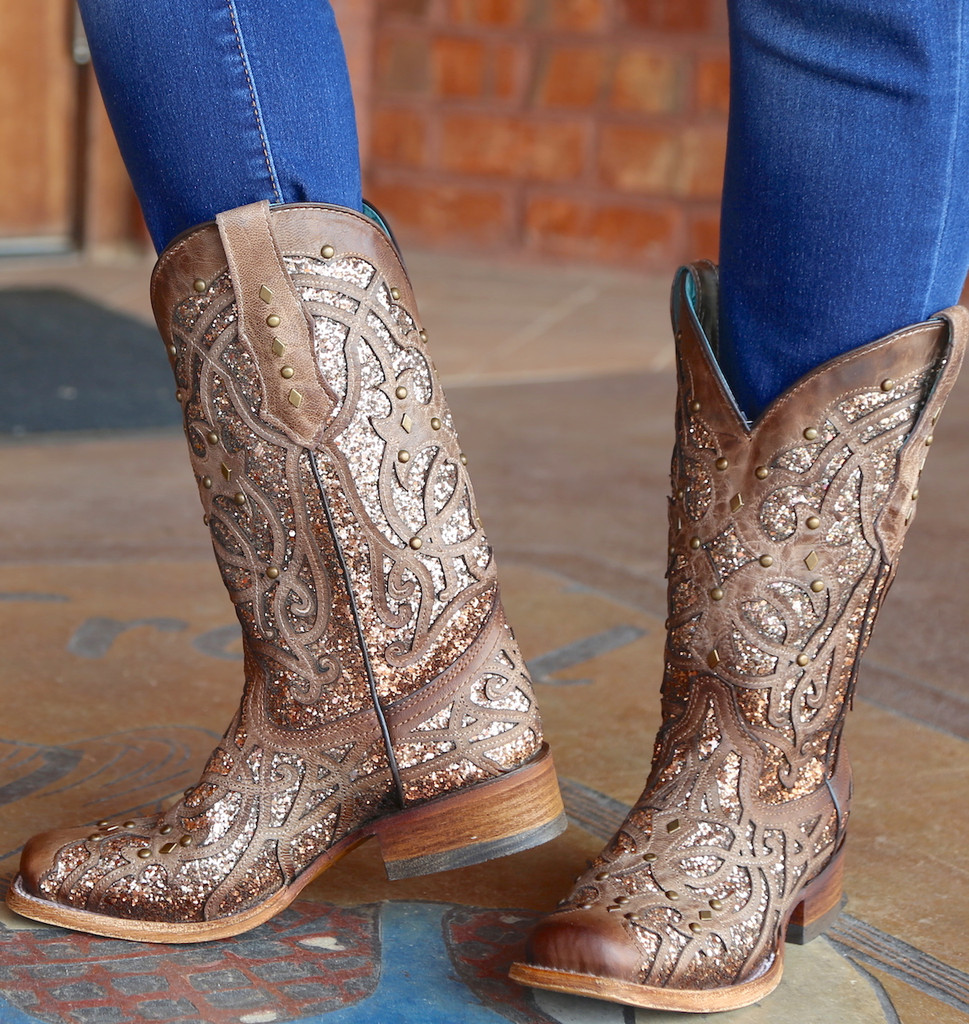 Corral Orix Glittered Inlay and Studs Square Toe Boots C3275 Photo