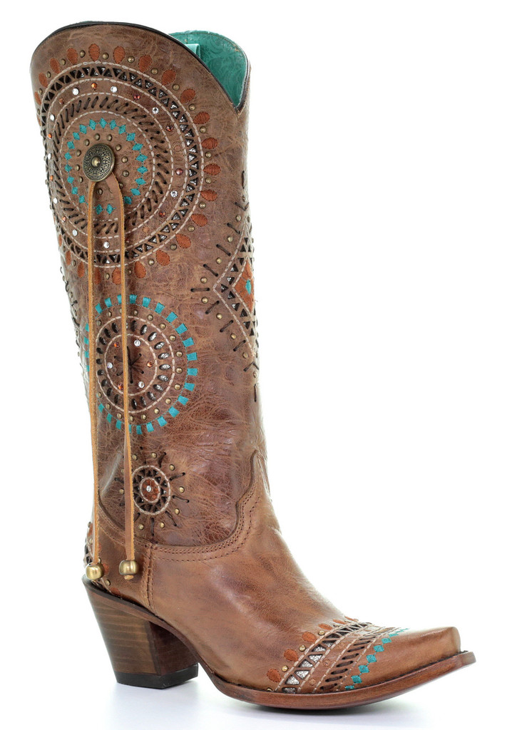 Corral Honey Embroidery and Studs and Crystals Boots A3524 Picture
