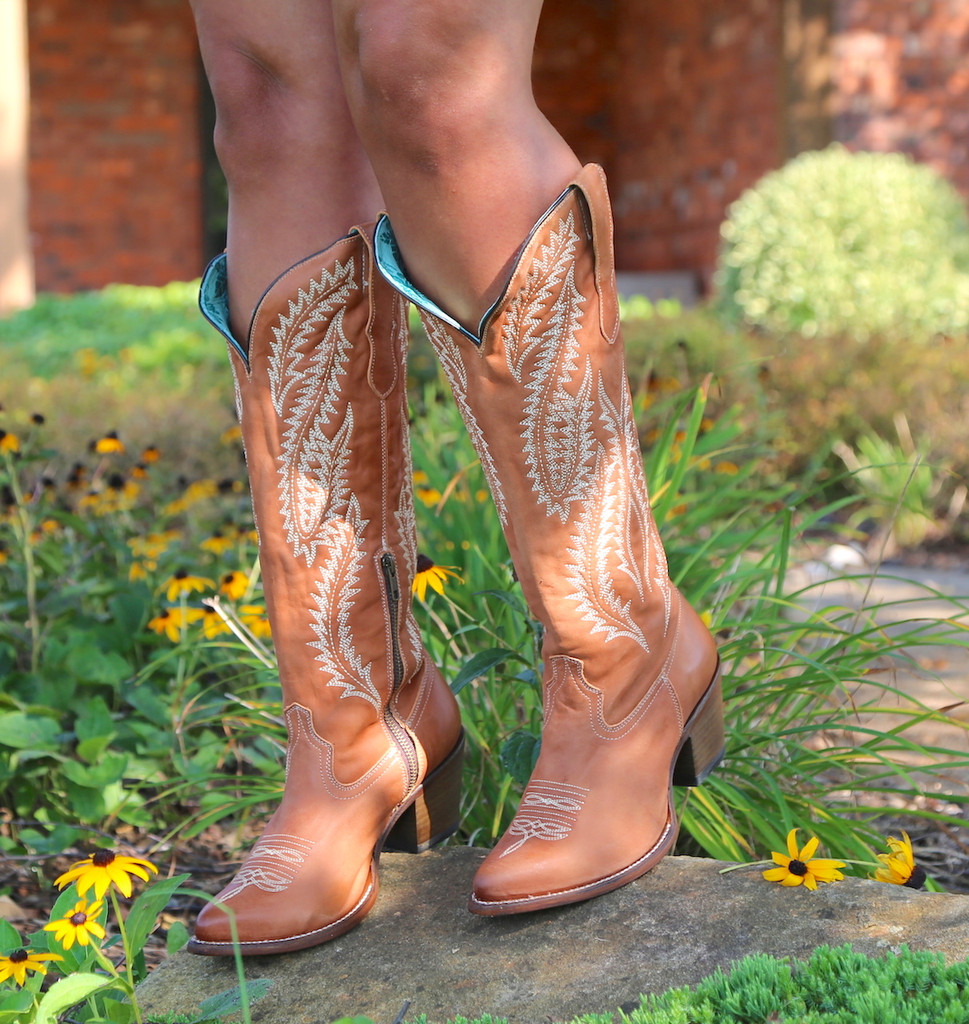 Corral Cognac Embroidery Tall Top Boots E1319 Front