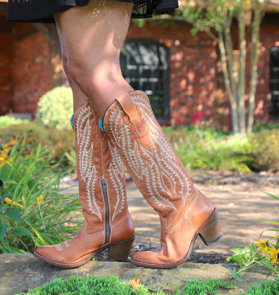 Corral Cognac Embroidery Tall Top Boots E1319 Image