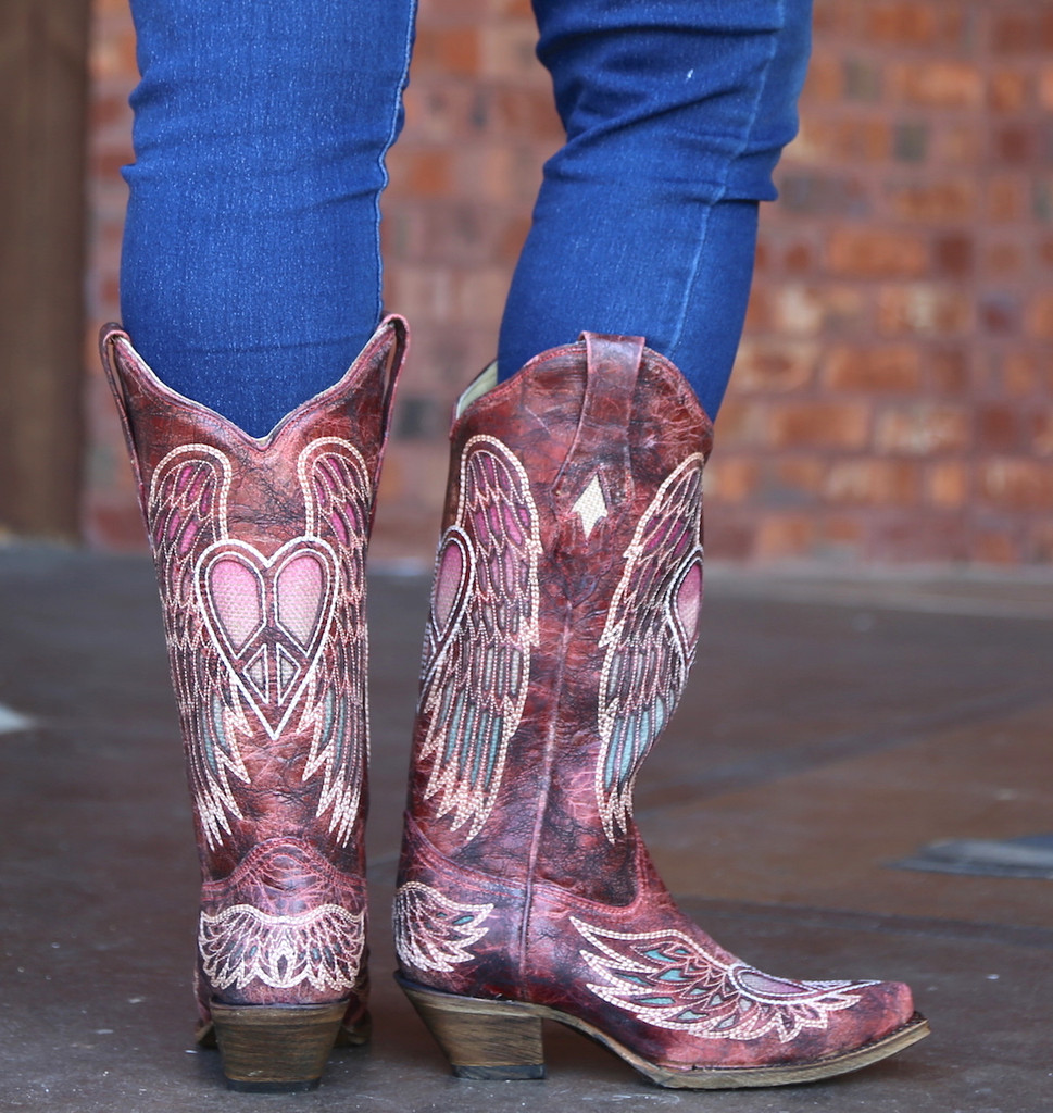 Corral Red Wings and Heart Inlay Boots A3409 Heel