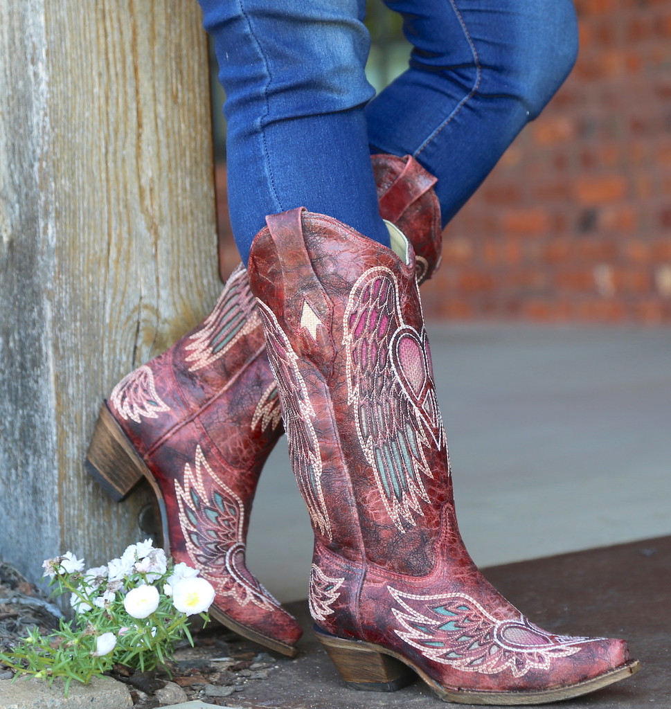 Corral Red Wings and Heart Inlay Boots A3409 Side