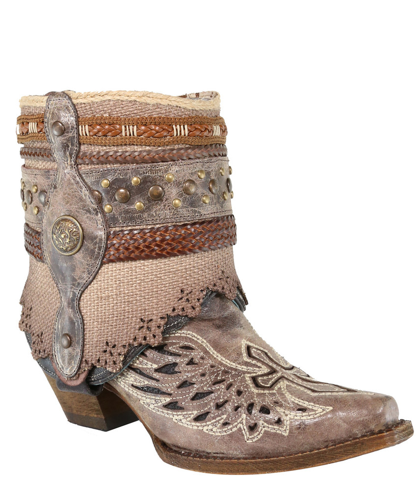 Corral Tobacco Flipped Shaft Wing and Cross Jute Rug Ankle Boot A3459 Picture