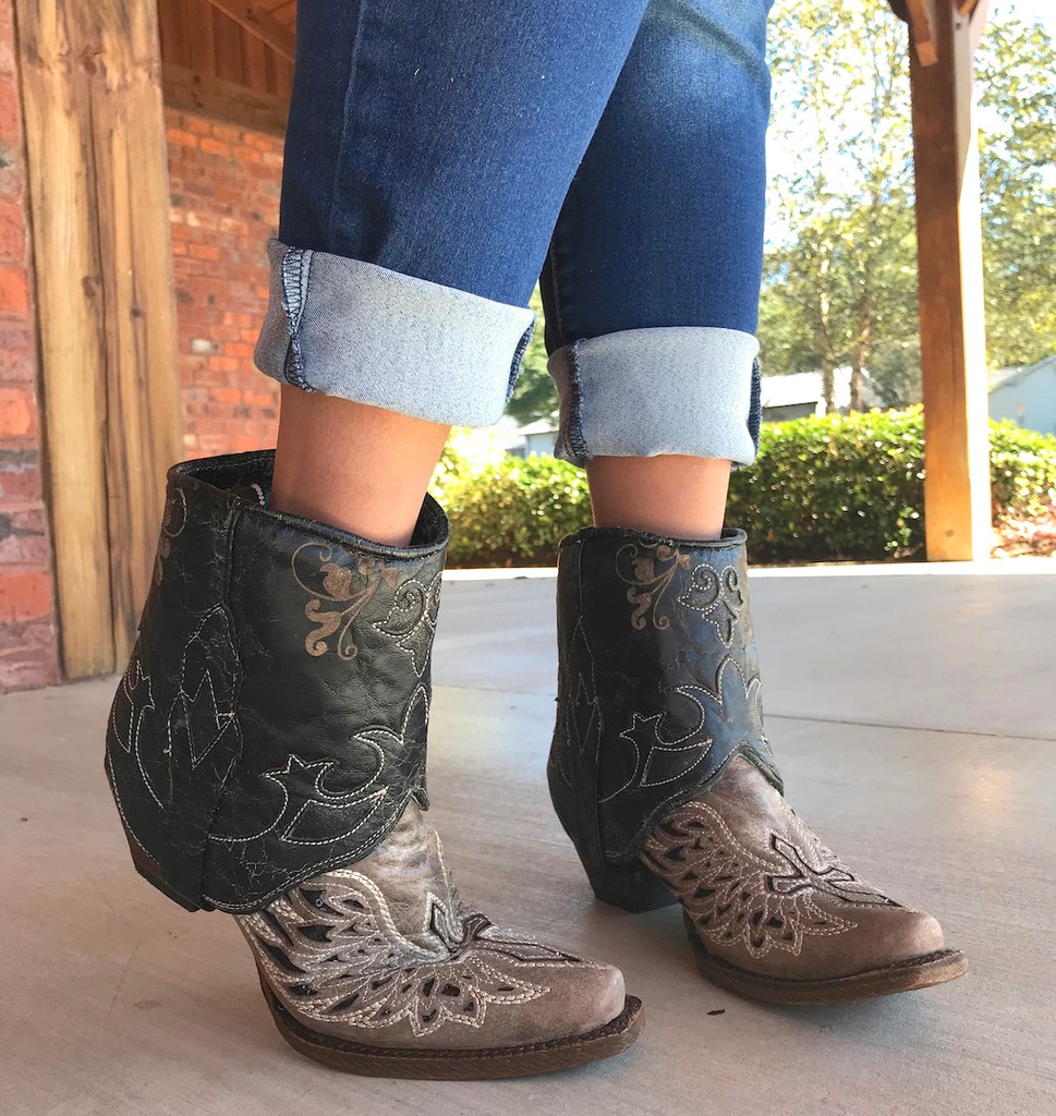 Corral Tobacco Flipped Shaft Wing and Cross Jute Rug Ankle Boot A3459 Reverse