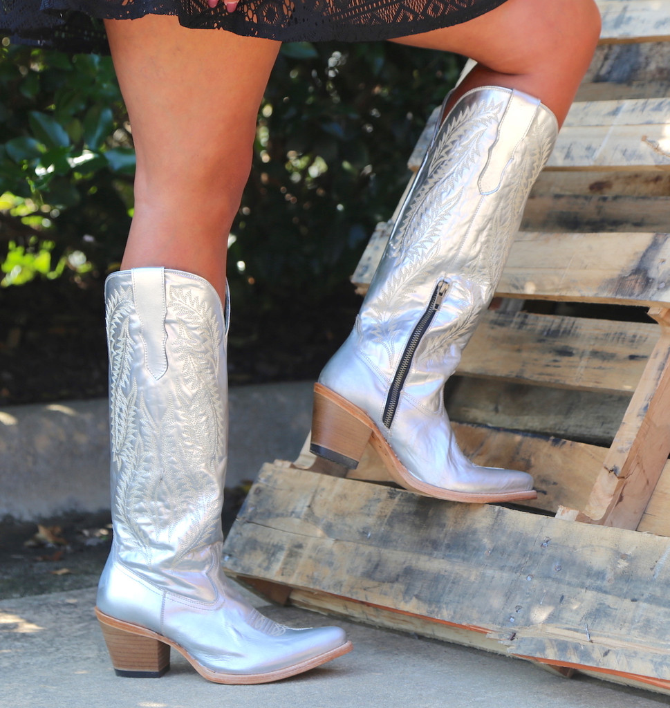 Corral Silver Embroidery Tall Top Boots E1321 Side