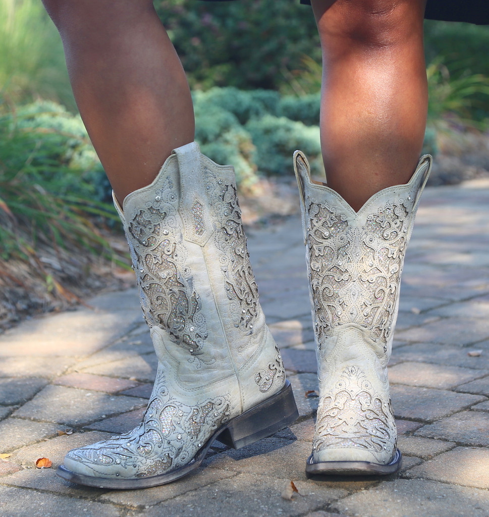 Corral White Glitter Inlay and Crystals Square Toe Boots A3397 Photo