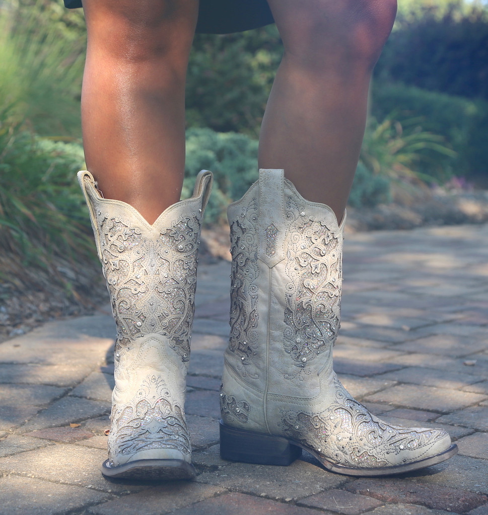Corral White Glitter Inlay and Crystals Square Toe Boots A3397 Front
