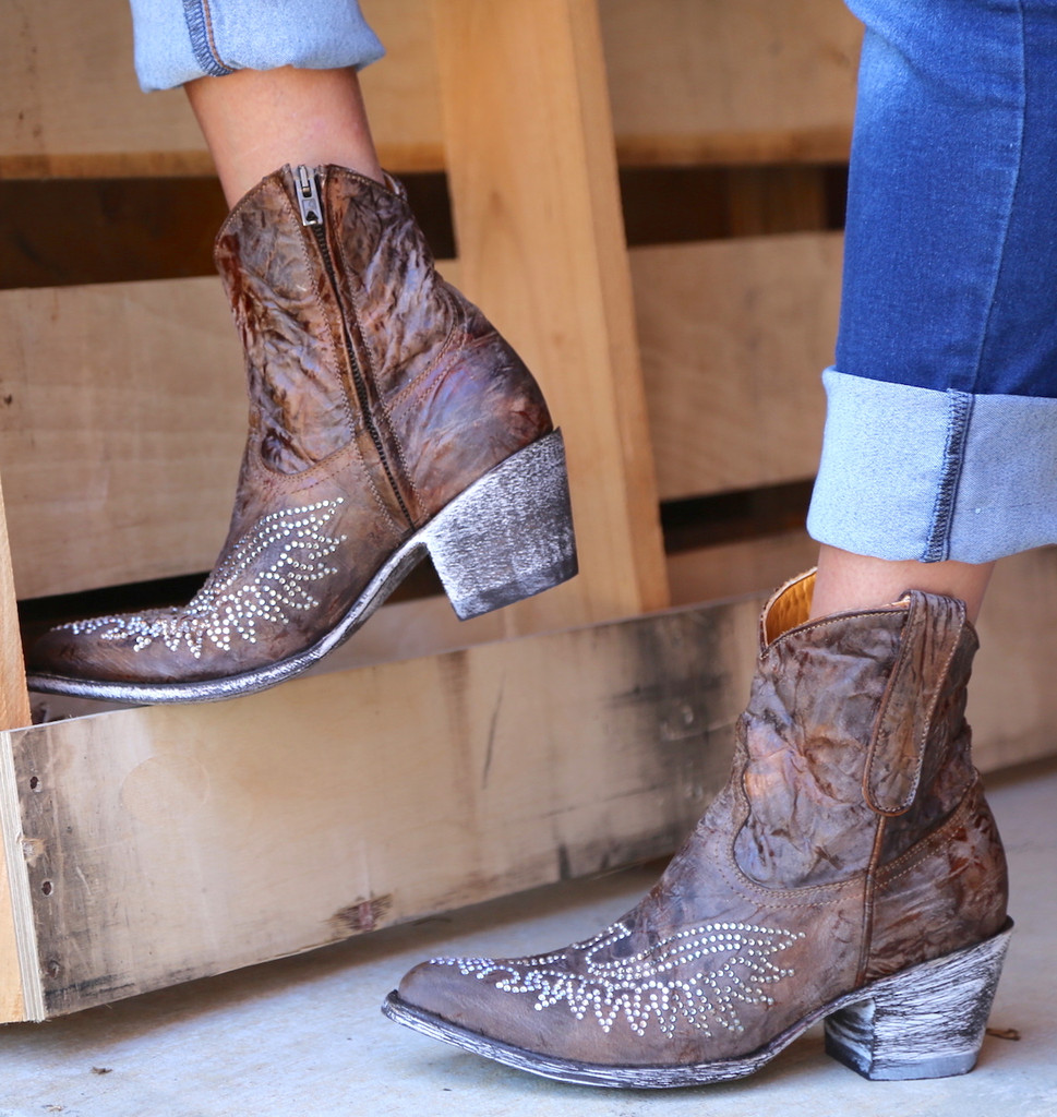 Old Gringo Eagle Crystal Zipper Boots L859-2 Side