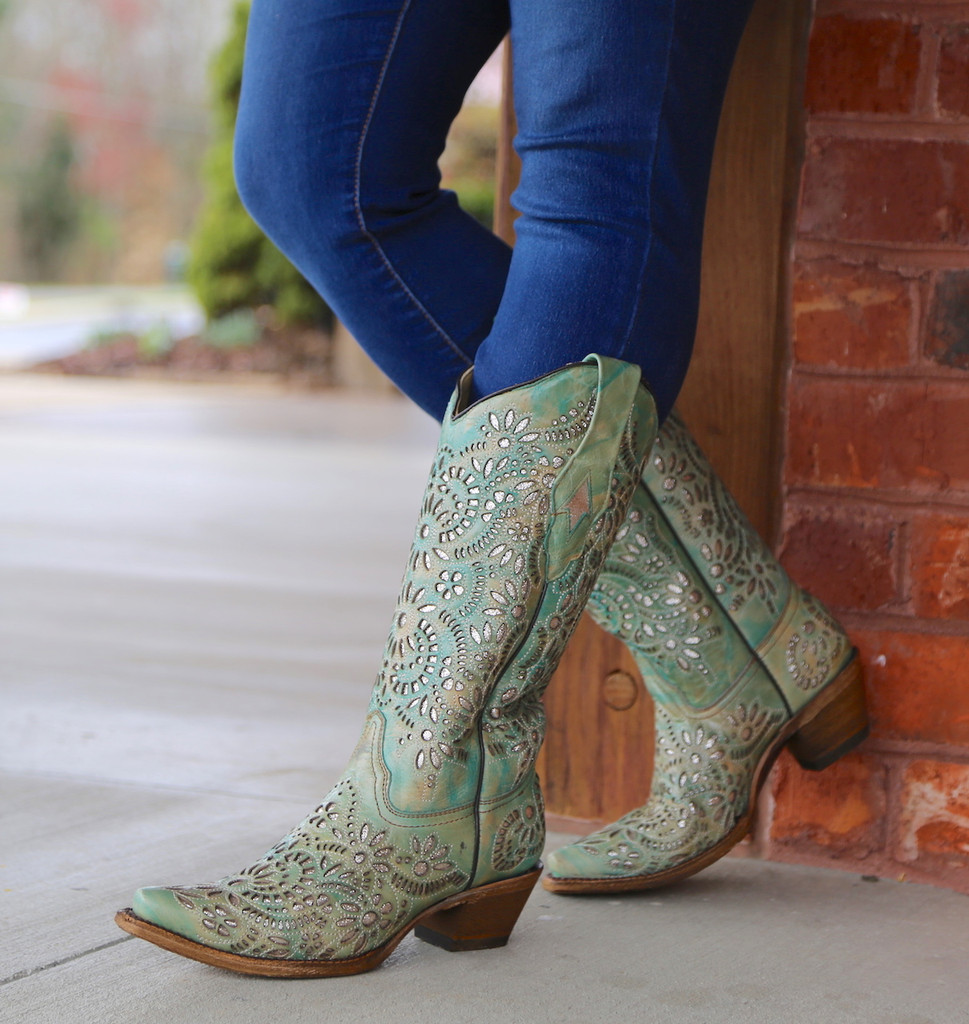 Corral Blue Glitter Inlay and Embroidery Boots A3353 Picture