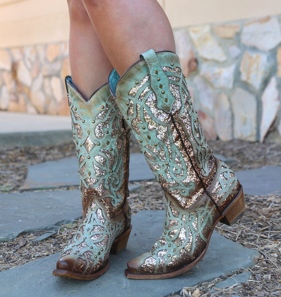 Corral Mint Glittered Inlay and Studs Snip Toe Boots C3332 Toe
