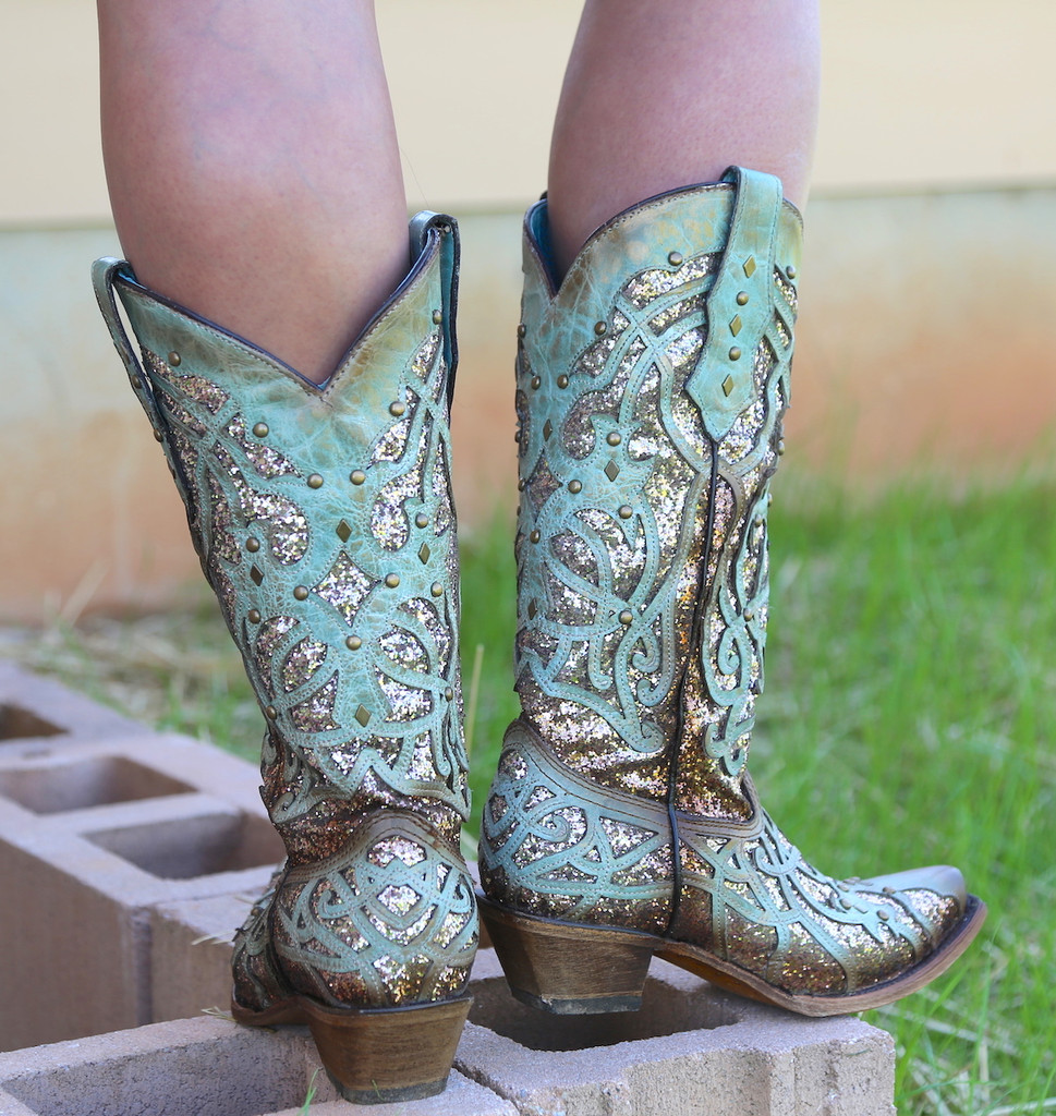 Corral Mint Glittered Inlay and Studs Snip Toe Boots C3332 Heel