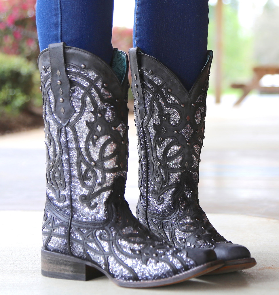 Corral Black Glittered Inlay and Studs Square Toe Boots C3265 Photo