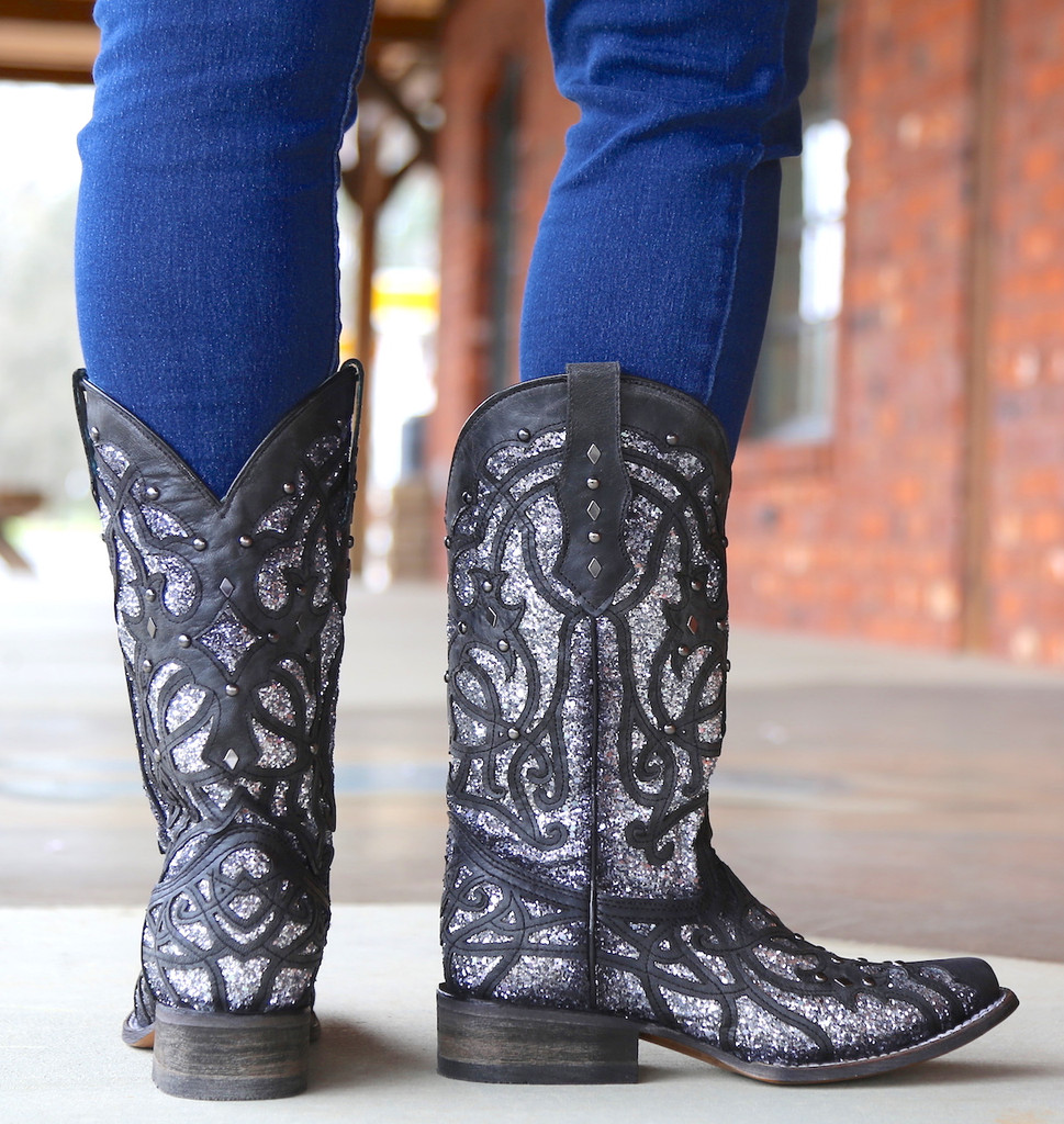 Corral Black Glittered Inlay and Studs Square Toe Boots C3265 Heel