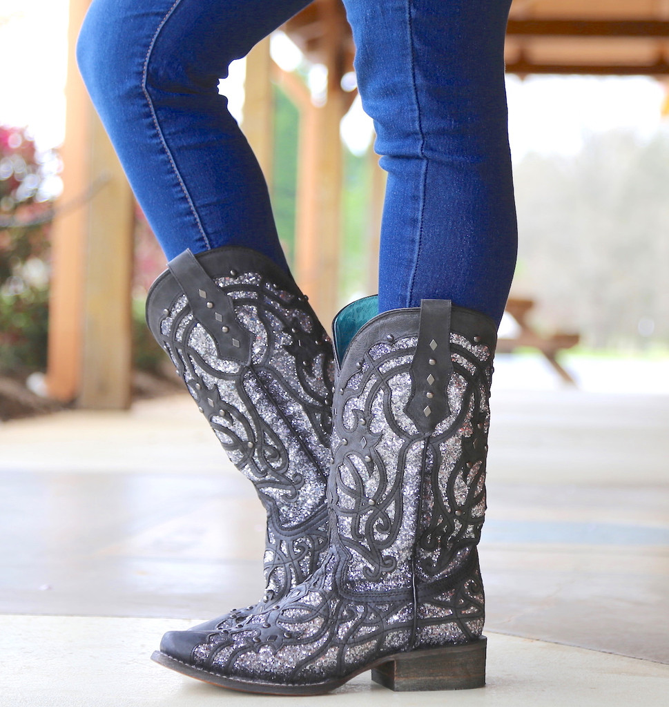 Corral Black Glittered Inlay and Studs Square Toe Boots C3265 Image
