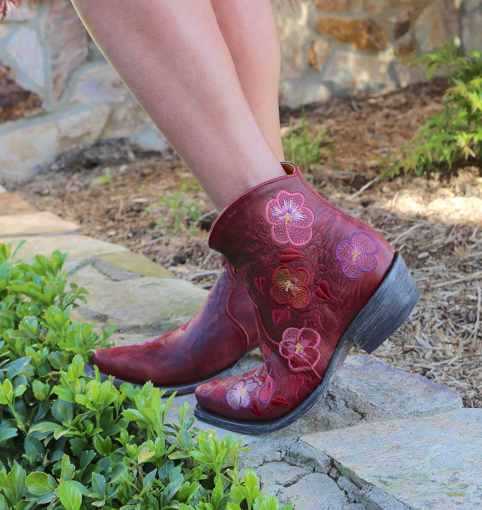 Old Gringo Pansy Short Red Boots BL2991-1 Embroidery