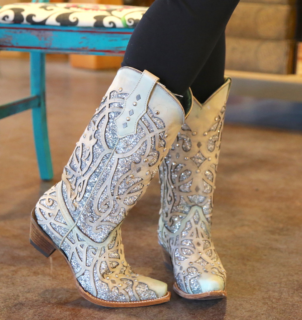 Corral White Turquoise Glitter Chameleon Boot C3377 Indoor Photo Side