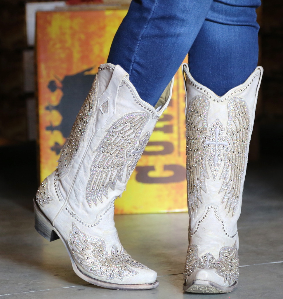 Corral Glitter Cross and Wings White Boots A3571 Toe