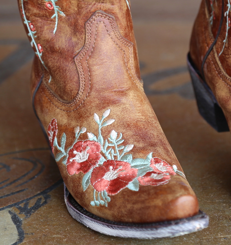 Corral Tan Deer Skull and Floral Embroidery Boots A3620 Embroidery