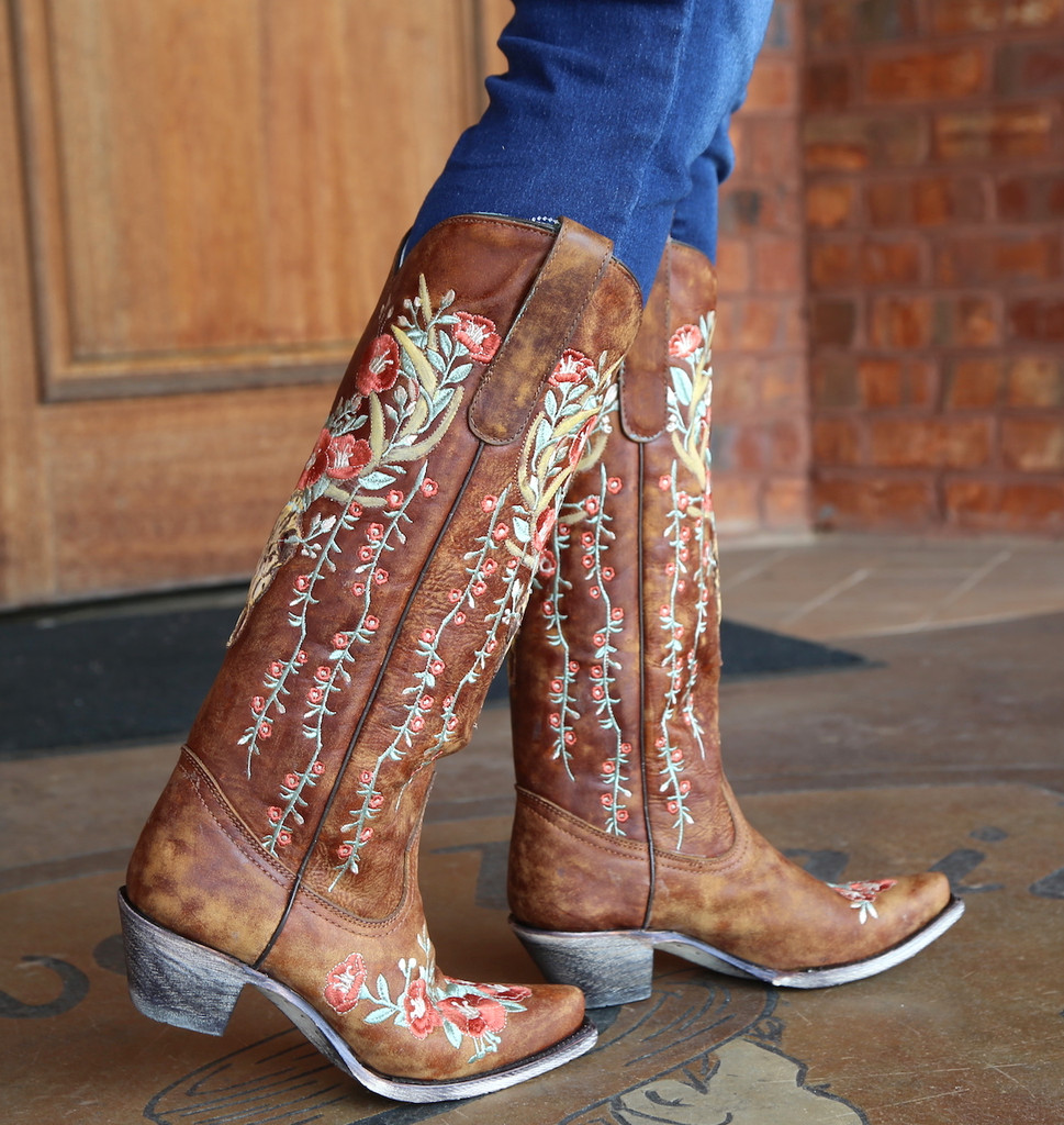Corral Tan Deer Skull and Floral Embroidery Boots A3620 Side