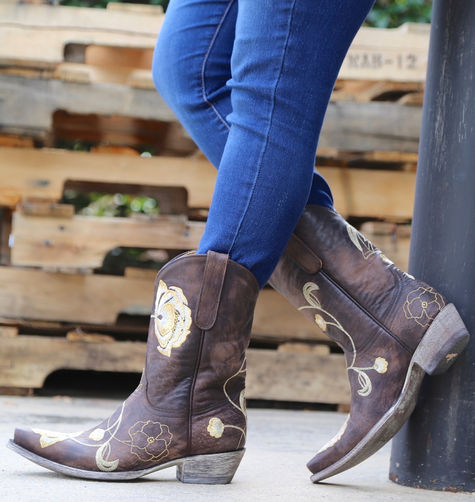 Old Gringo Marsha Chocolate Gold Boots L427-45 Side