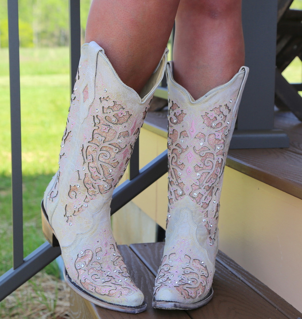 Corral White Pink Glitter Inlay and Crystals Boots A3587 Front