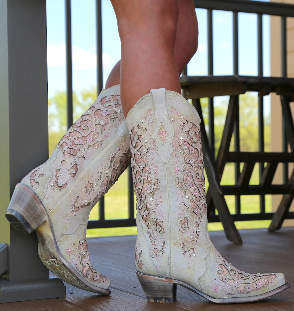 Corral White Pink Glitter Inlay and Crystals Boots A3587 Heel