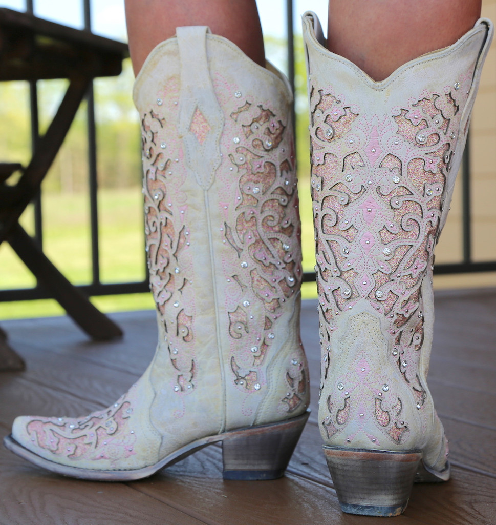 Corral White Pink Glitter Inlay and Crystals Boots A3587 Back