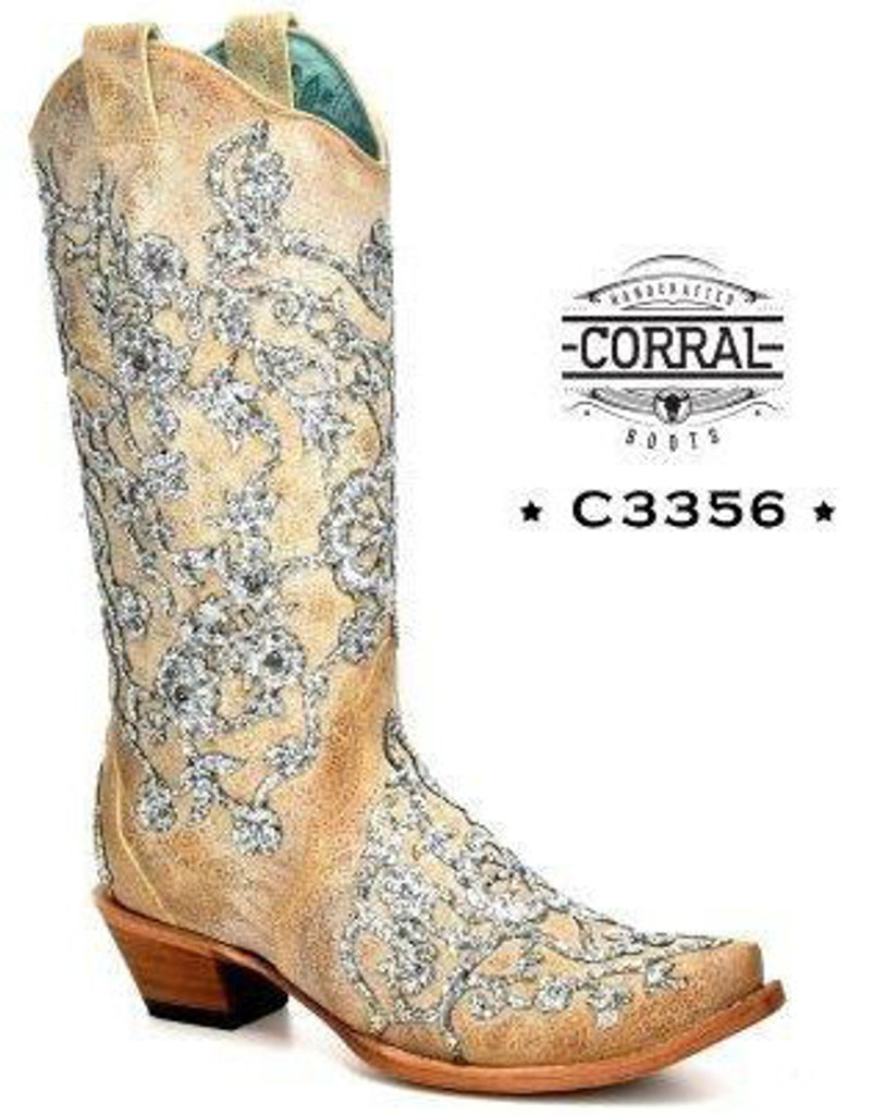 Corral Bone Glitter Overlay Embroidery and Crystals Boots C3356 Photo