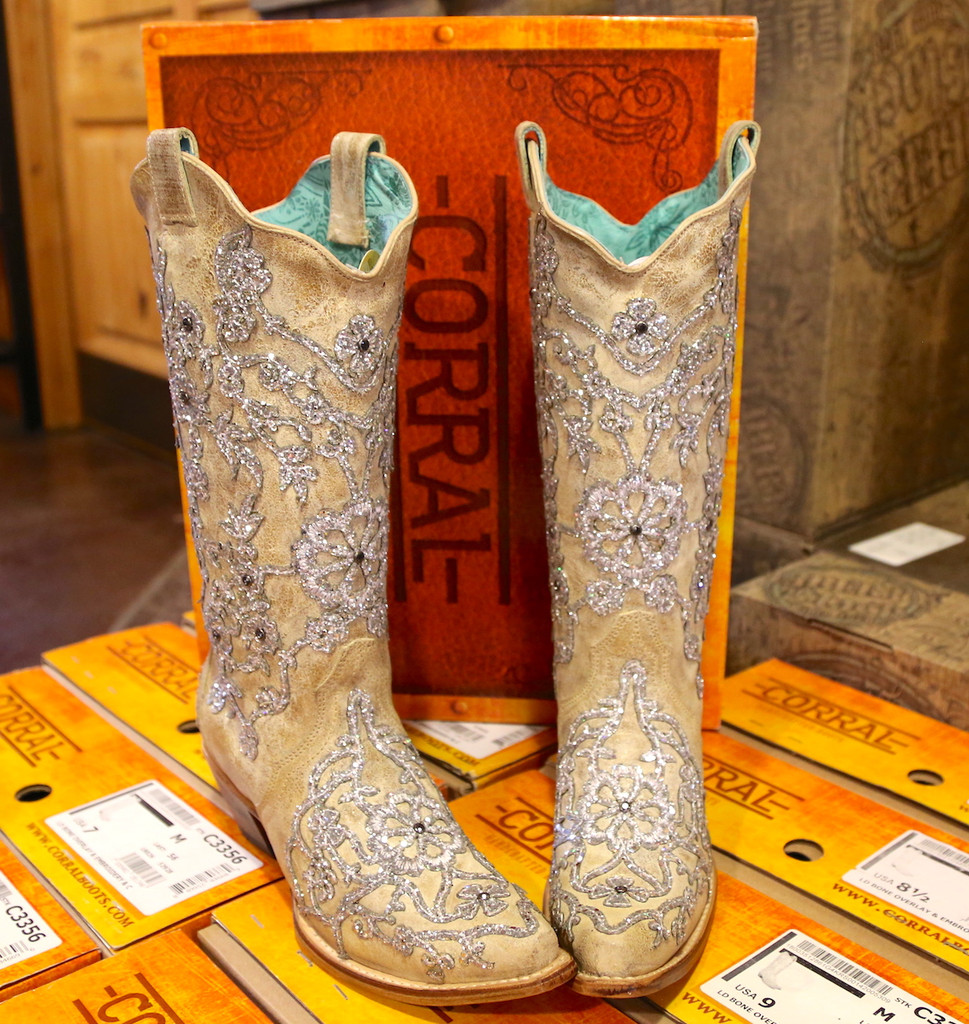 Corral Bone Glitter Overlay Embroidery and Crystals Boots C3356 Front