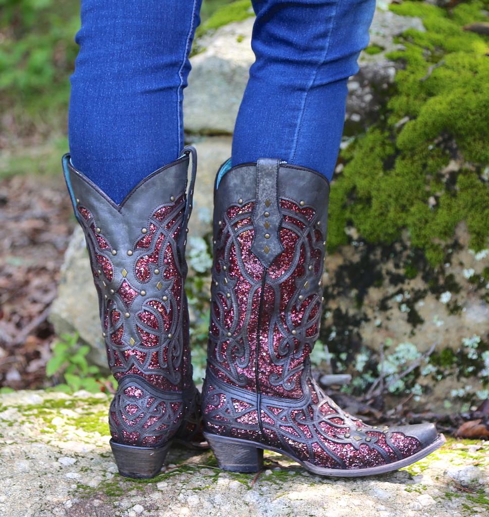 Corral Black Plum Glitter Inlay and Studs Snip Toe Boots C3406 Heel