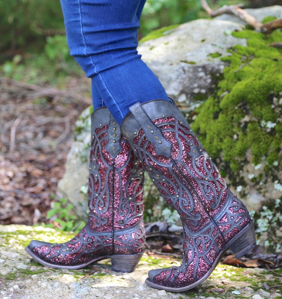 Corral Black Plum Glitter Inlay and Studs Snip Toe Boots C3406 Walk
