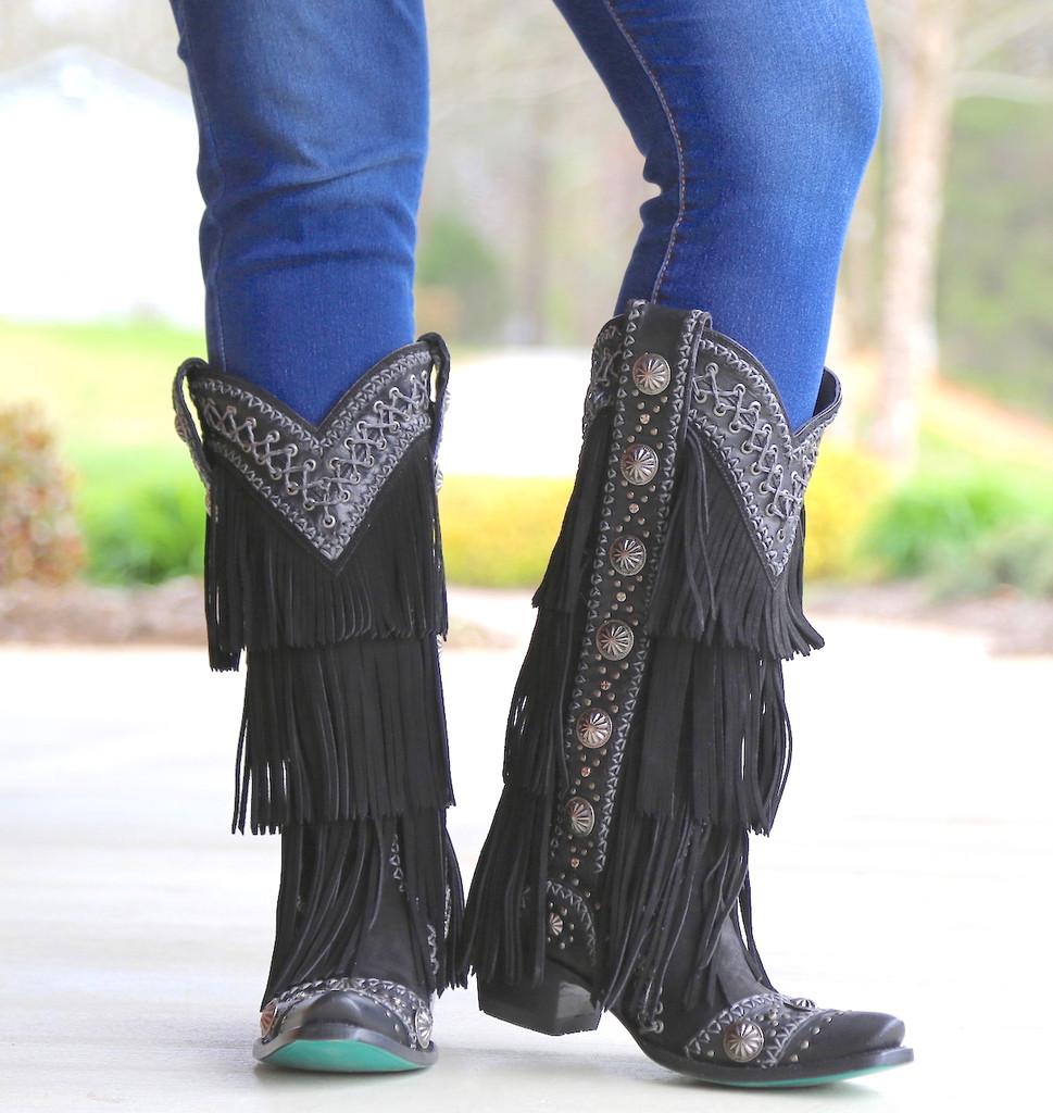 Lane Wind Walker Black Boots LB0378B Conchos