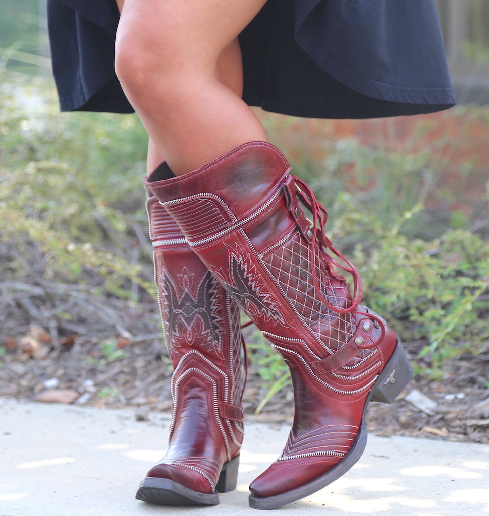 Lane Boots Zip It Red Moto Zipper LB0377A Image