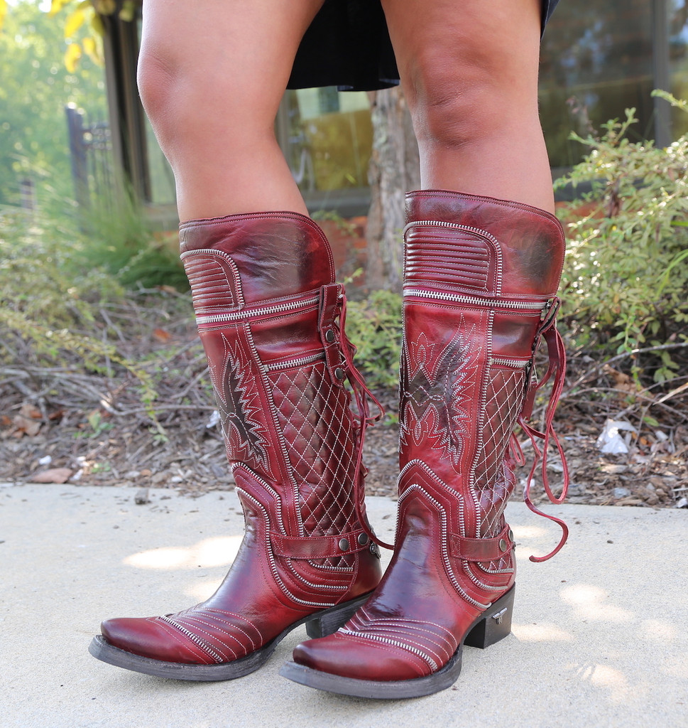 Lane Boots Zip It Red Moto Zipper LB0377A Photo