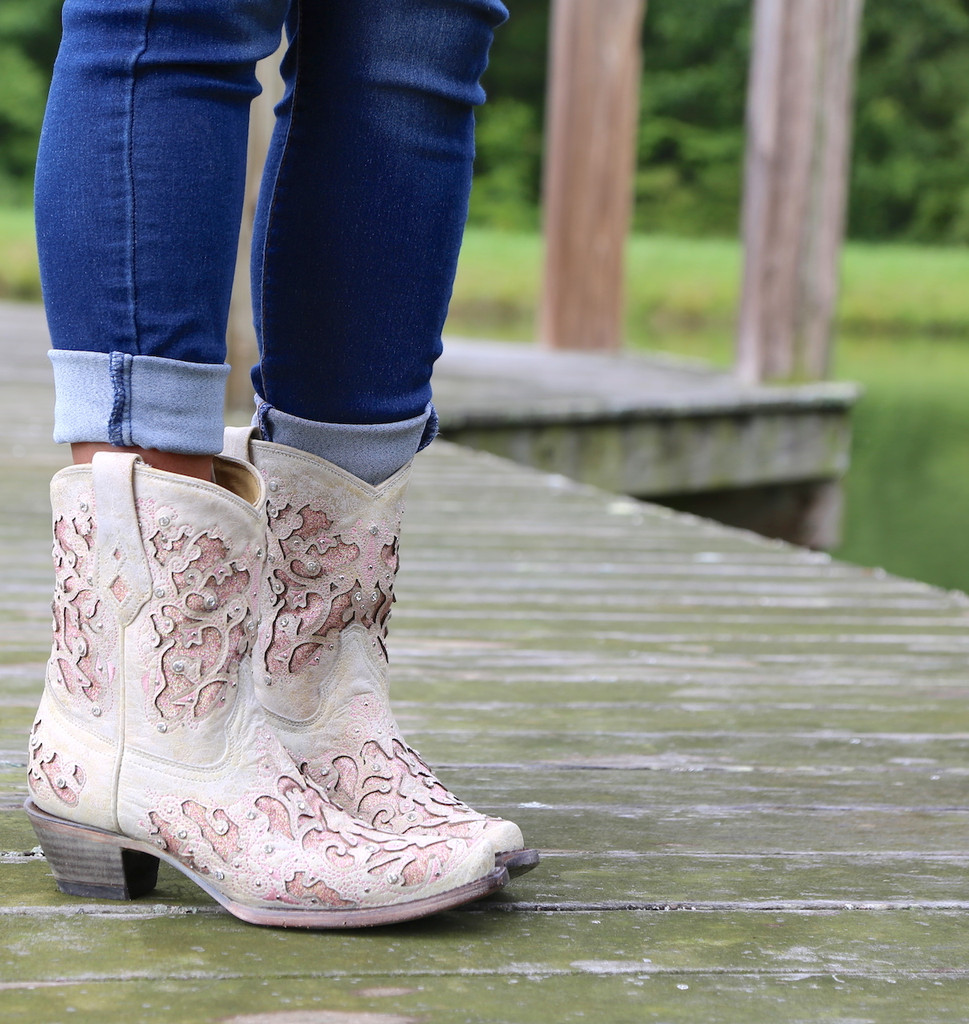 Corral Pink Glitter Inlay and Crystals Ankle Boot A3558 Photo