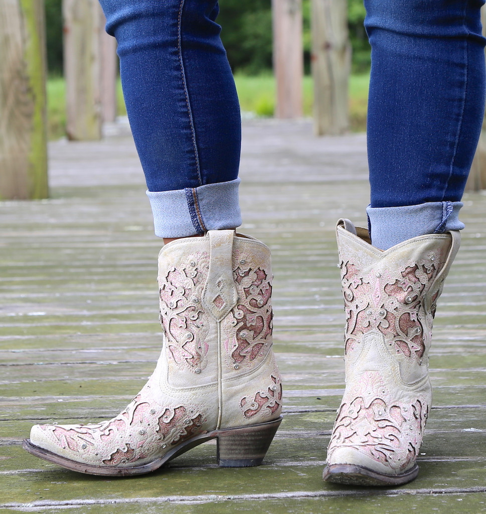 Corral Pink Glitter Inlay and Crystals Ankle Boot A3558 Toe