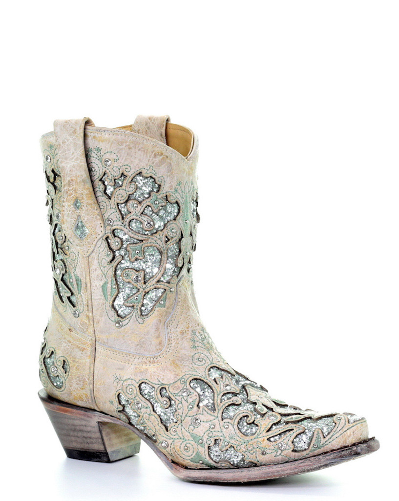 latest discount superior materials fine quality Corral White Green Glitter Inlay and Crystals Ankle Boot A3557