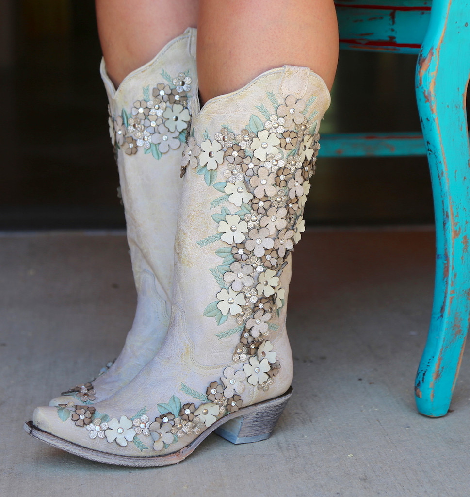 Corral White Floral Overlay Embroidery Studs Crystals Boots A3600 Side