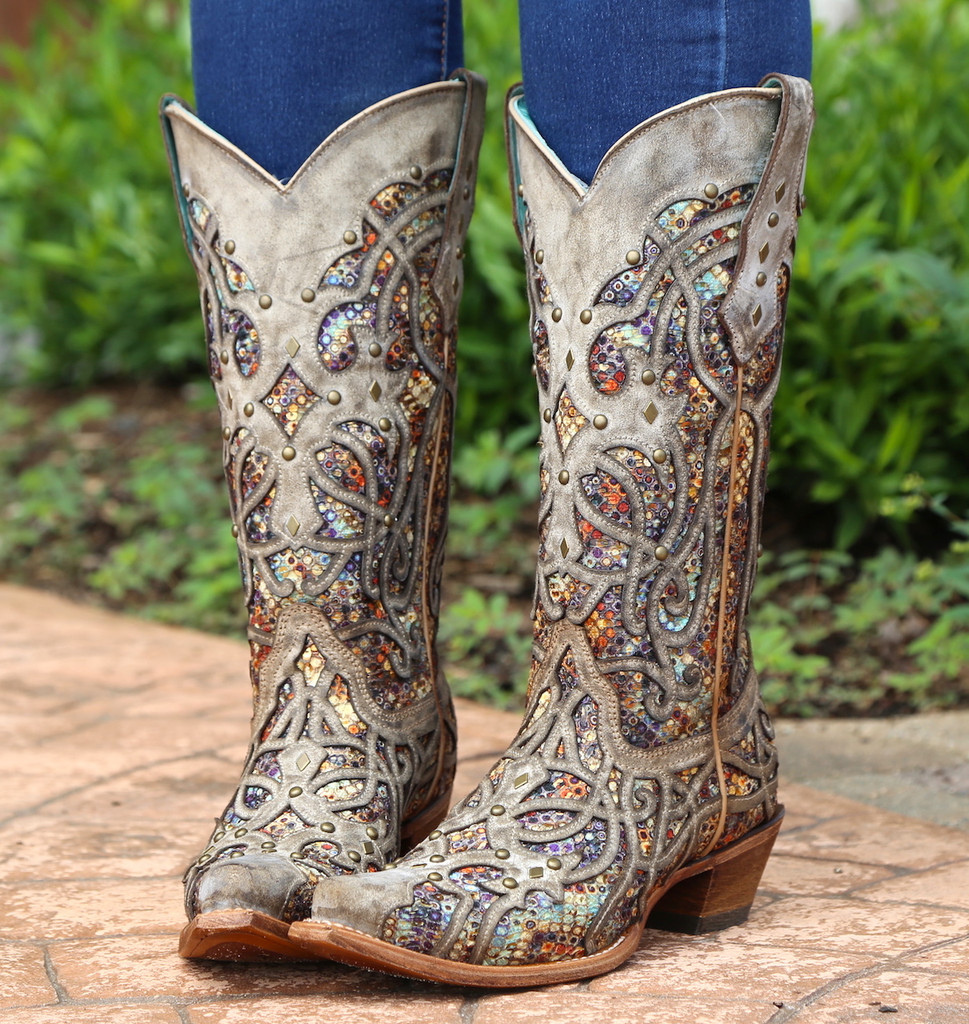 Corral Taupe Inlay and Studs Snip Toe Boots C3409 Photo