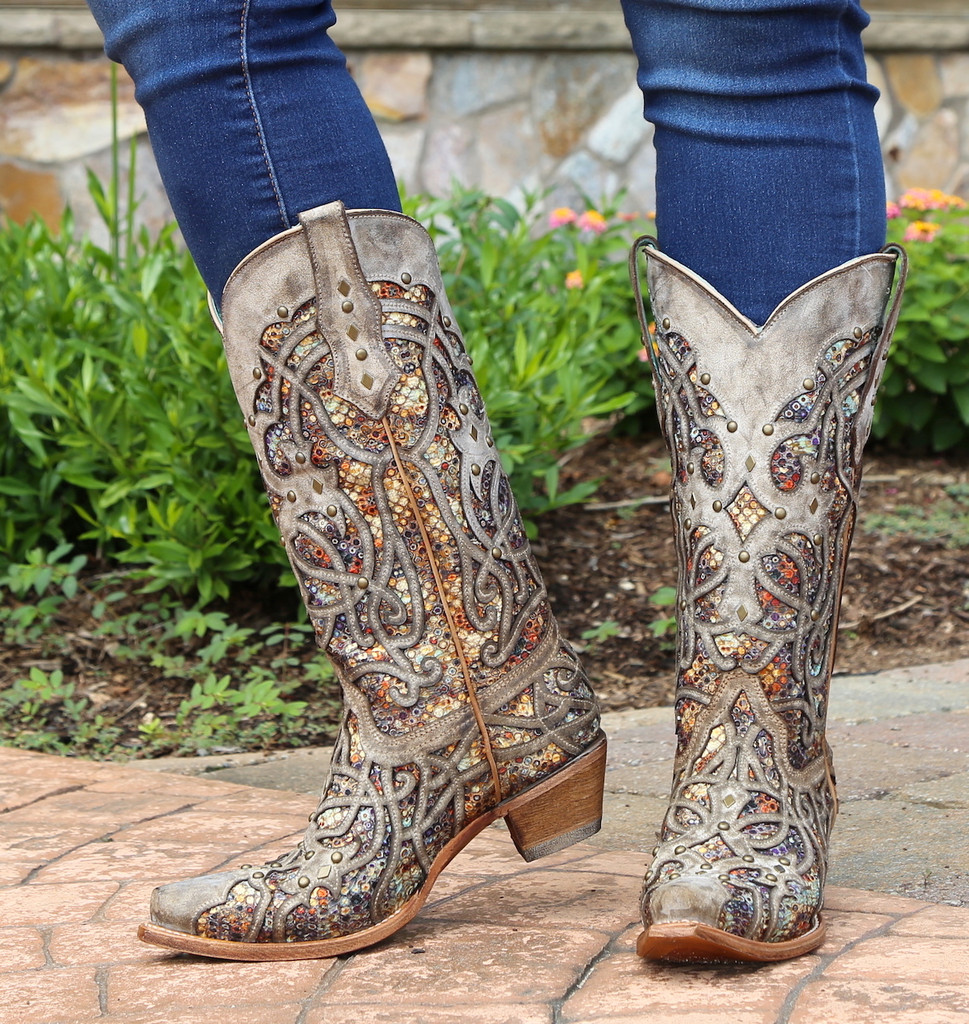 Corral Taupe Inlay and Studs Snip Toe Boots C3409 Front