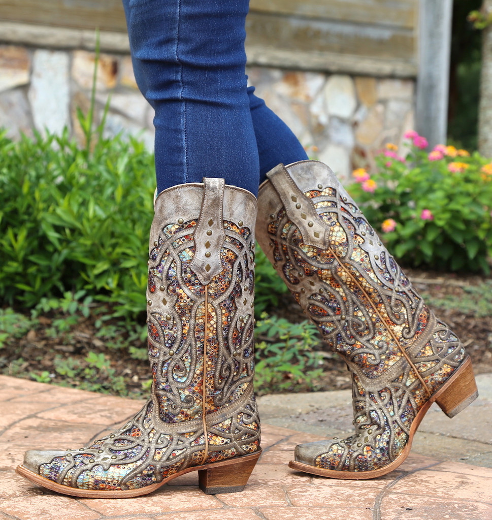 Corral Taupe Inlay and Studs Snip Toe Boots C3409 Walk