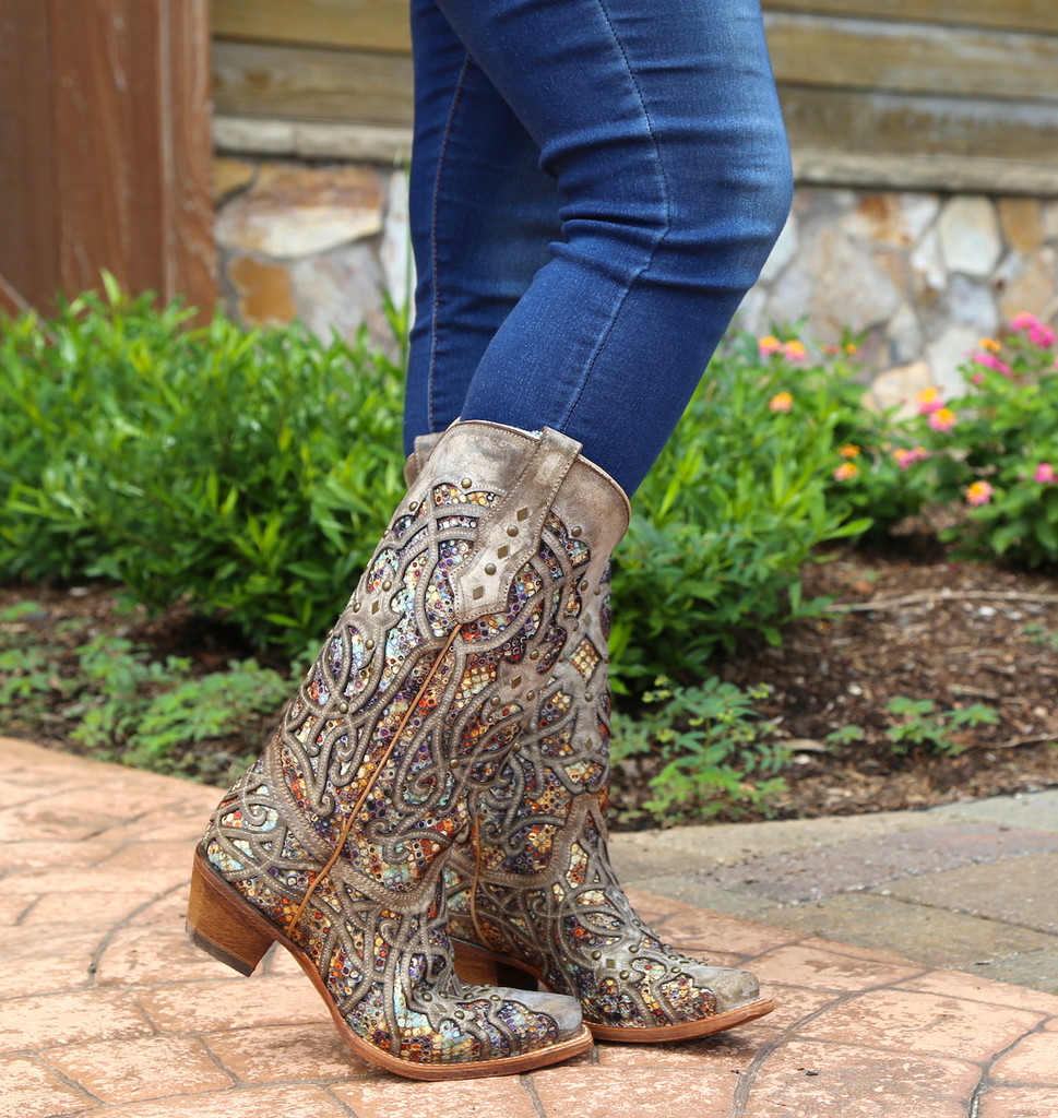 Corral Taupe Inlay and Studs Snip Toe Boots C3409 Toe
