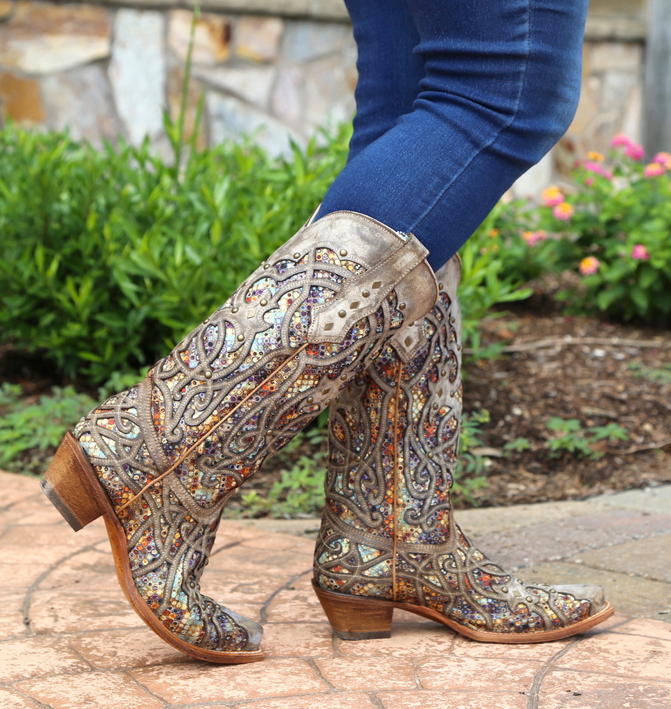 Corral Taupe Inlay and Studs Snip Toe Boots C3409 Picture