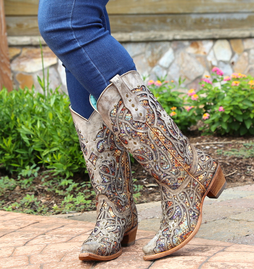 Corral Taupe Inlay and Studs Snip Toe Boots C3409 Image