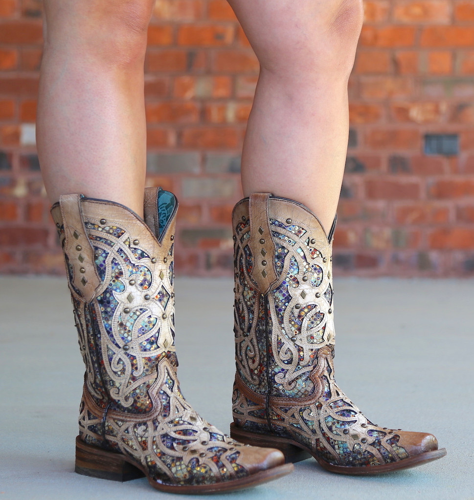 Corral Bone Multi Color Inlay and Studs Sqaure Toe Boots C3405 Picture